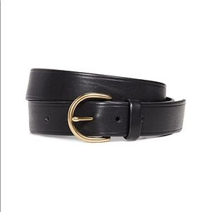 Brand new madewell black leather belt, gold buckle